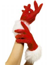 Miss Santa Gloves With White Trim